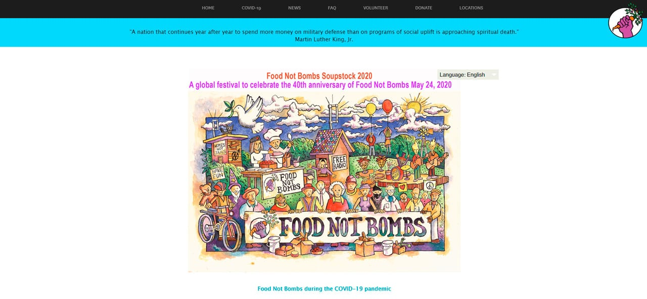 Food Not Bombs Charity Website
