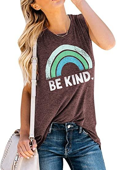 IRISGOD Womens Be Kind Tank Tops