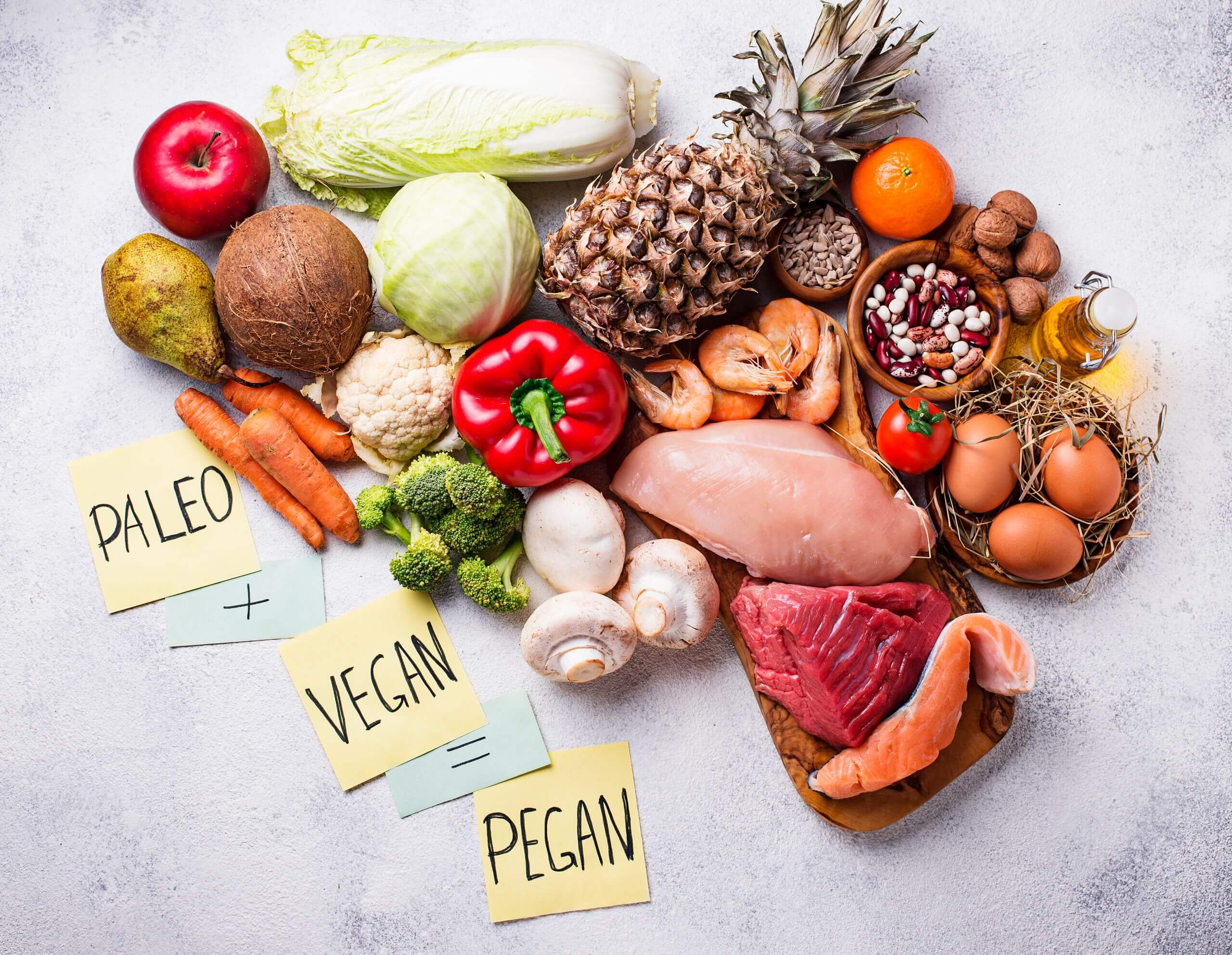 Trendy pegan diet. Paleo and vegan healthy products