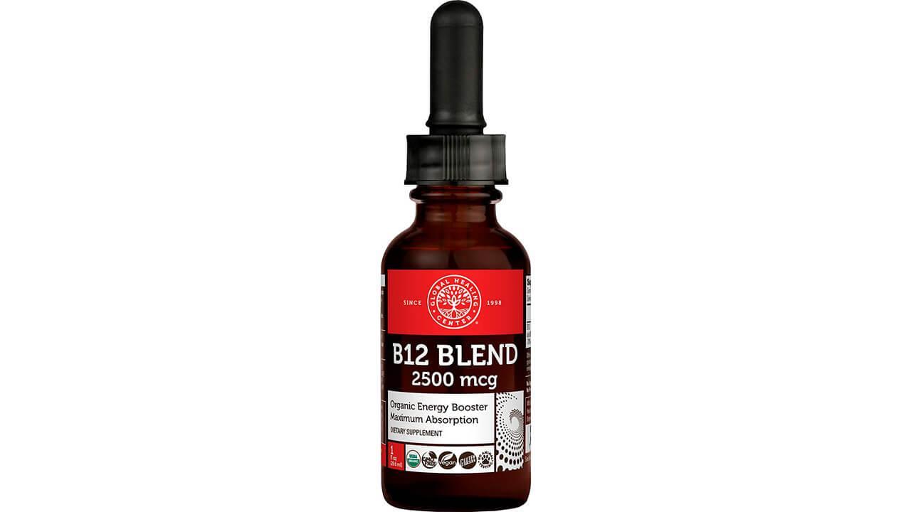 Global Healing Center Vegansafe B12, 2500 mcg Organic Sublingual Liquid Vitamin B12 Drops
