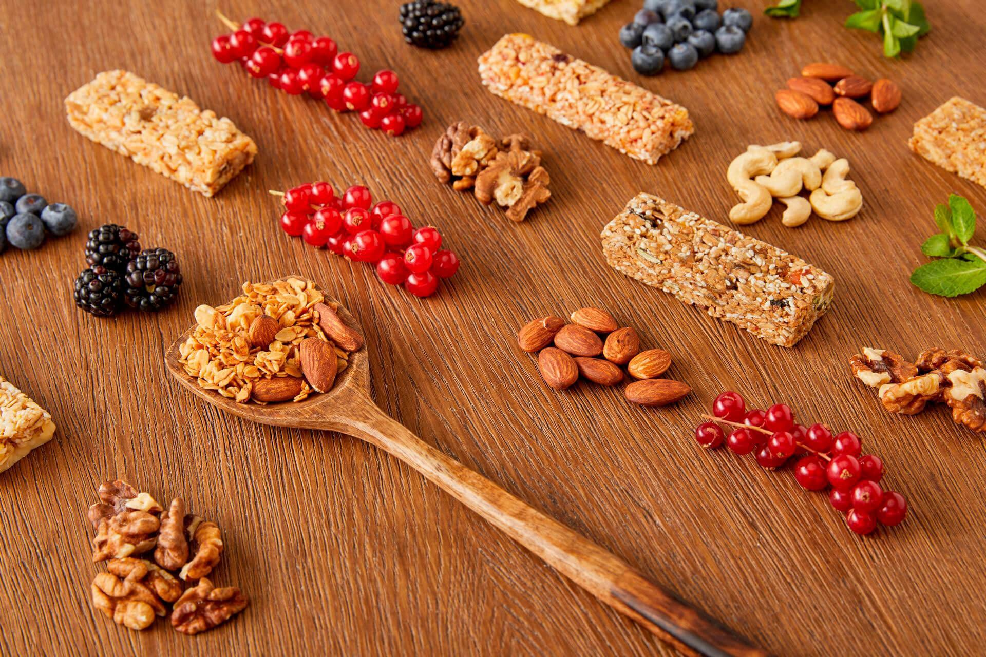 Homemade healthy snack - granola vegan protein bars